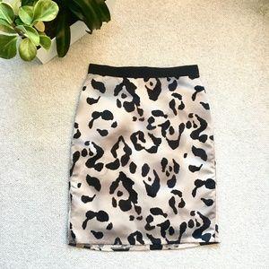 Ann Taylor silky abstract leopard pencil skirt